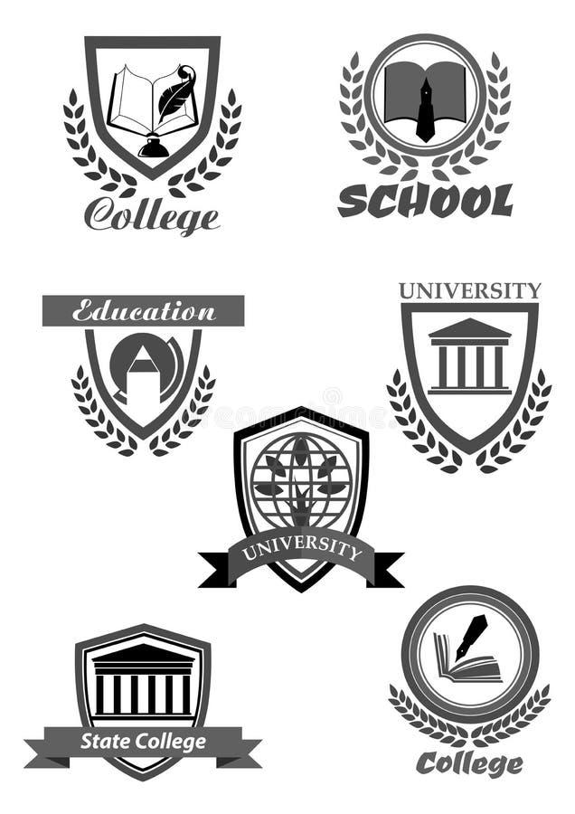 Högskola- eller universitet- och skolavektorsymboler ställde in stock illustrationer
