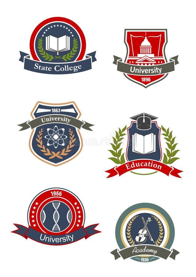 Högskola-, universitet-, skola- och akademitecken vektor illustrationer