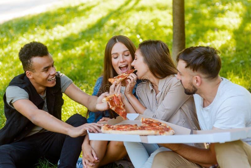 Högskolakompisar äter pizza arkivfoton