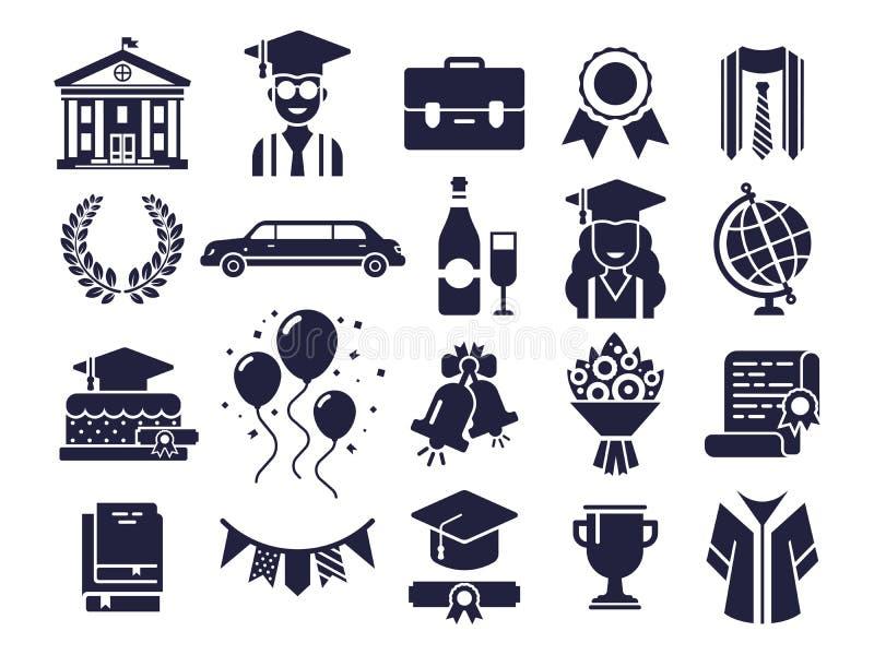 Högskolakontursymboler Doktorand- dag, studentavläggande av examenlock och uppsättning för vektor för symbol för diplompict vektor illustrationer