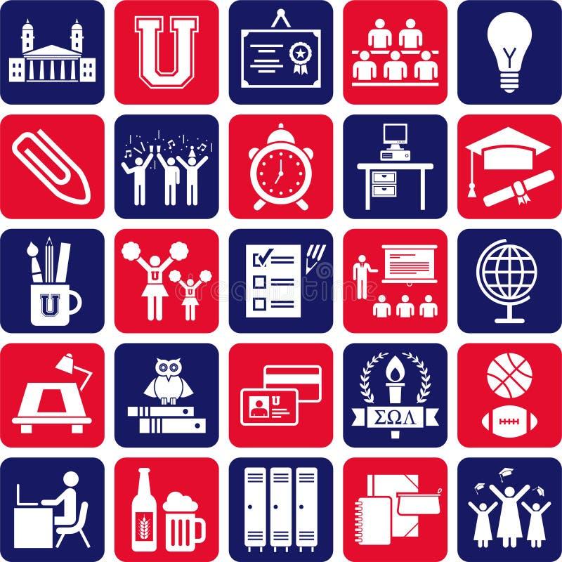 Högskolasymboler royaltyfri illustrationer
