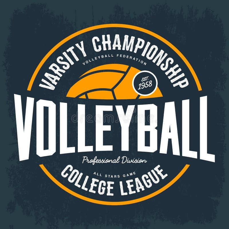 Högskolaturneringemblem för volleybollsport vektor illustrationer