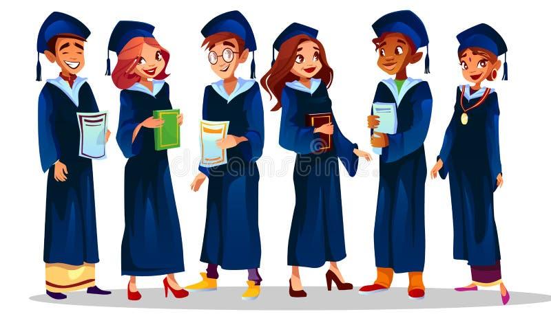 Högskolauniversitetet avlägger examen vektorillustrationen stock illustrationer