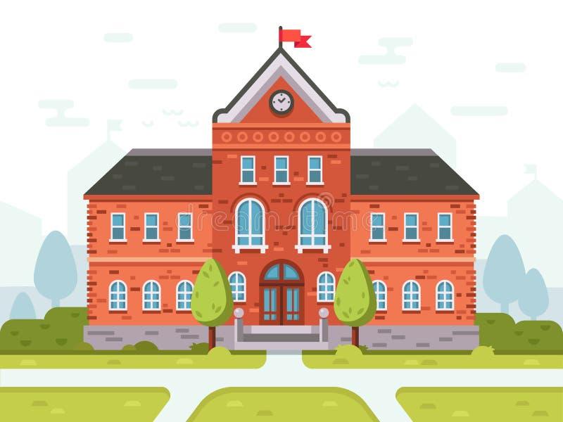 Högskolauniversitetsområde för studenter eller universitetbyggnad Illustration för vektor för studenthusingång vektor illustrationer
