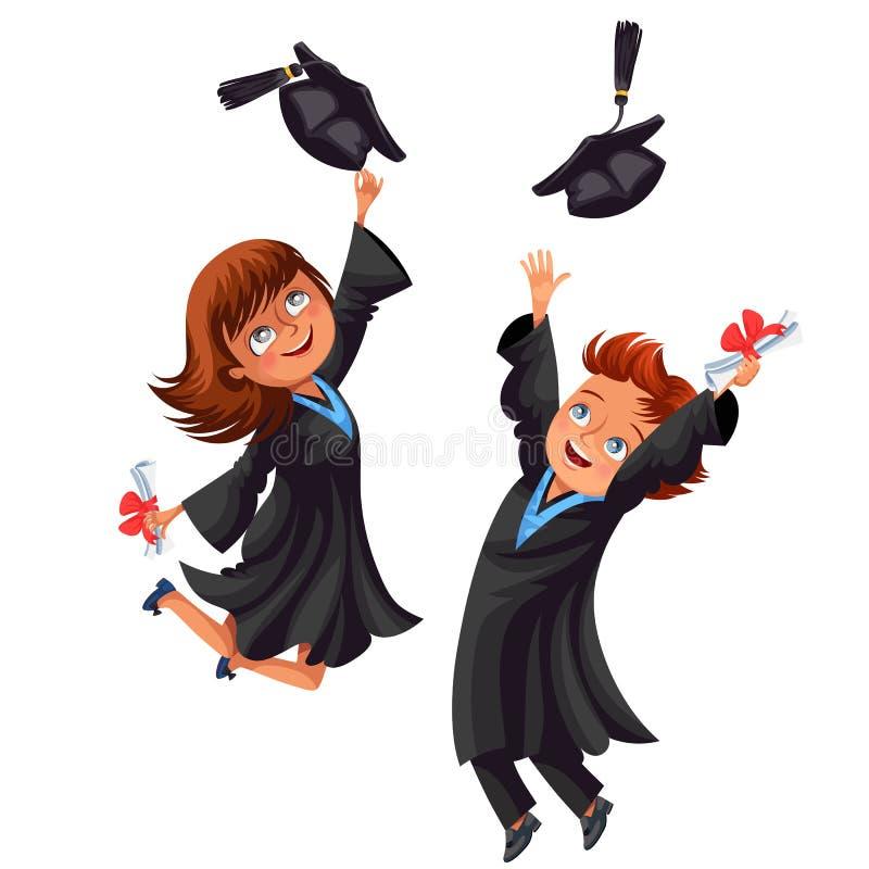 Högskolestudentaffischen med lyckliga kandidater av firar högstadiumavläggande av examen stock illustrationer