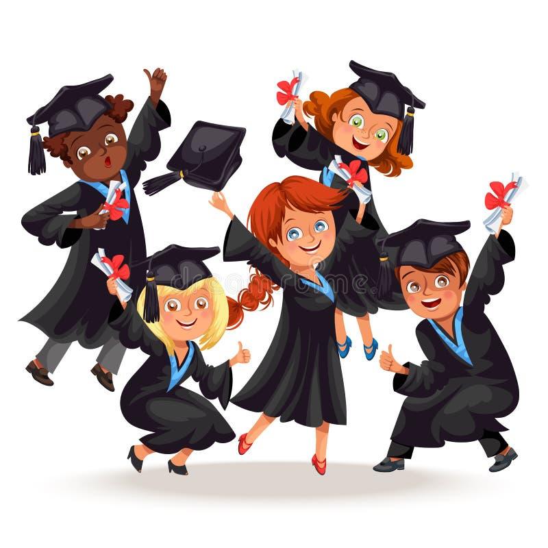 Högskolestudentaffischen med lyckliga kandidater av olika nationaliteter firar högstadiumavläggande av examen stock illustrationer