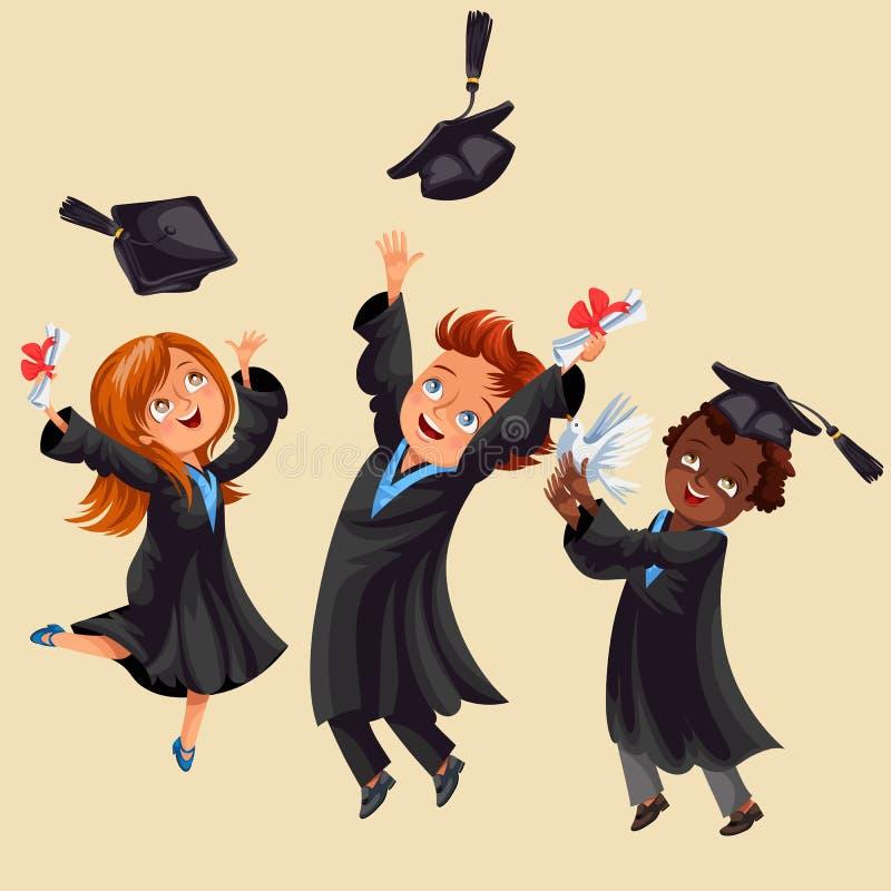 Högskolestudentaffischen med lyckliga kandidater av olika nationaliteter firar högstadiumavläggande av examen royaltyfri illustrationer