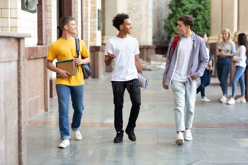 Högskolestudenter som går i universitetsområde och utomhus pratar royaltyfria foton