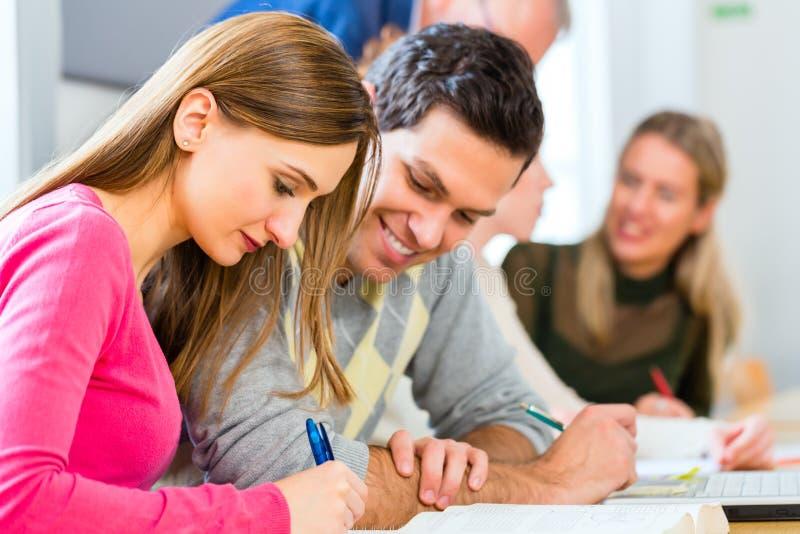 Högskolestudenter som lär med professor royaltyfria bilder