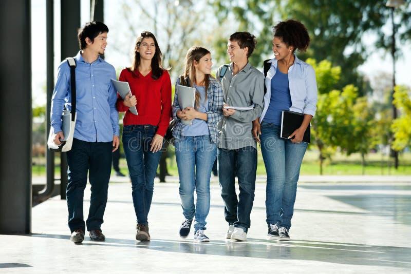 Högskolestudenter som tillsammans går på universitetsområde arkivbild