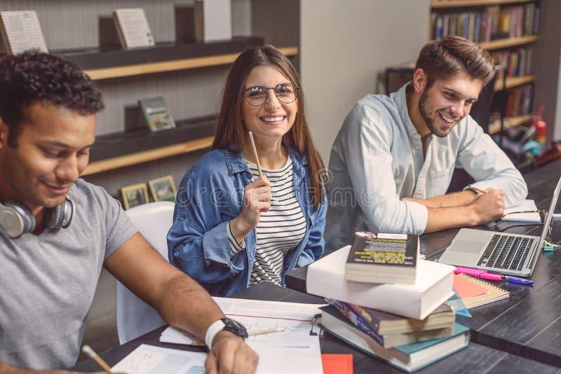 Högskolestudenter som tillsammans sitter och studerar arkivfoto