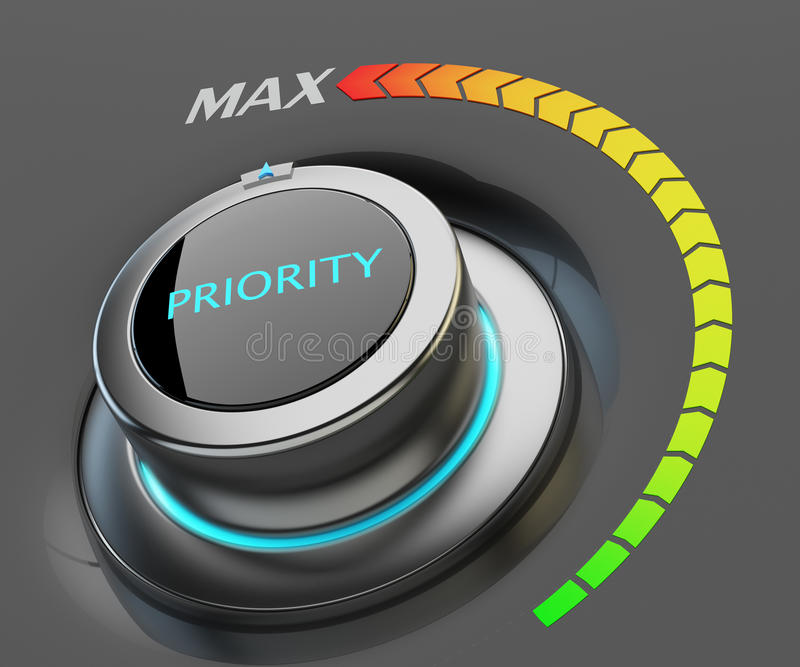Högst nivå av prioritetsbegreppet stock illustrationer