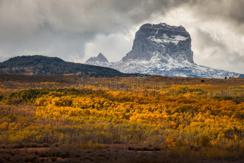 Högsta berg i höst i glaciärnationalparken, Montana, USA royaltyfri bild