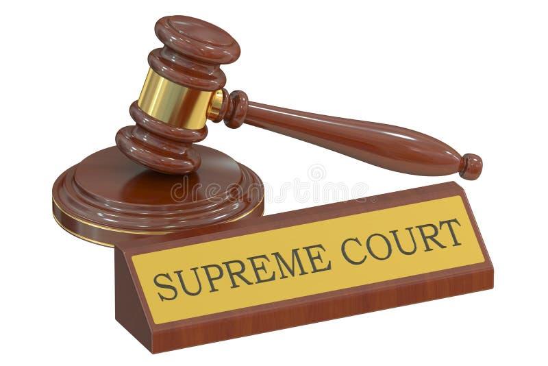 Högsta domstolenbegrepp med auktionsklubban framförande 3d stock illustrationer