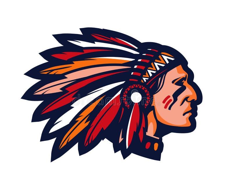 högsta indier Logo eller symbol Vektormaskot vektor illustrationer