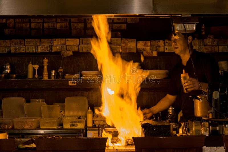 Högsta laga mat i stor brand arkivfoton