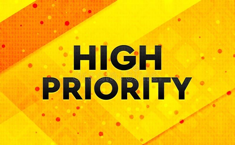 Högt - bakgrund för abstrakt digitalt baner för prioritet gul stock illustrationer