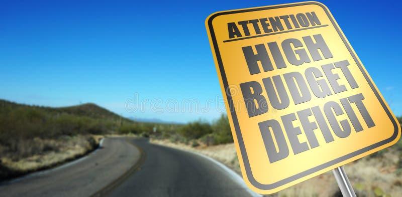 Högt budgetunderskottvägmärke royaltyfri bild