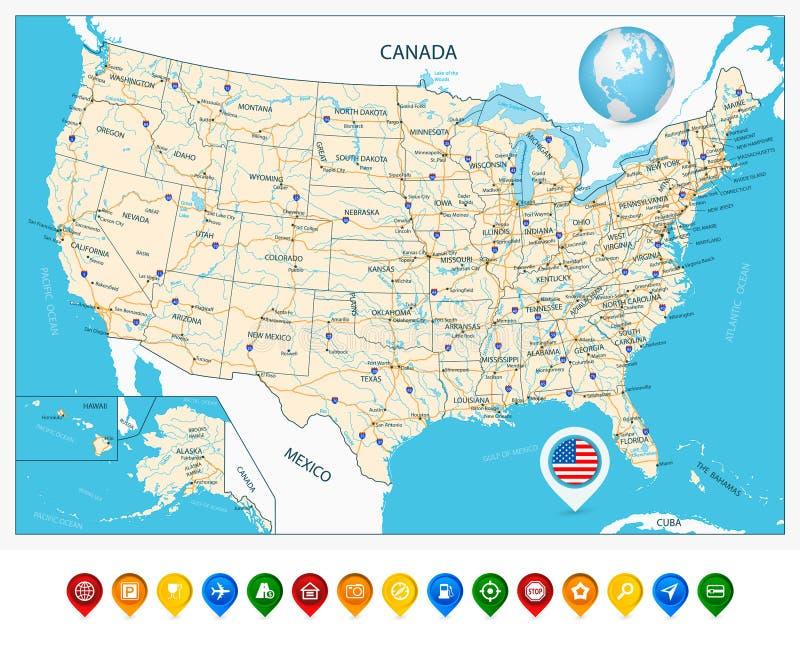 Högt detaljerad färdplan av Förenta staterna och färgrik översiktspunkt royaltyfri fotografi