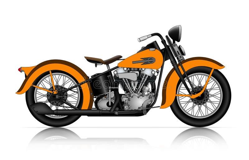 Högt detaljerad illustration av den klassiska motorcykeln royaltyfri illustrationer