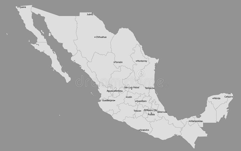 Högt detaljerad politisk Mexico översikt, huvudsakliga städer stock illustrationer
