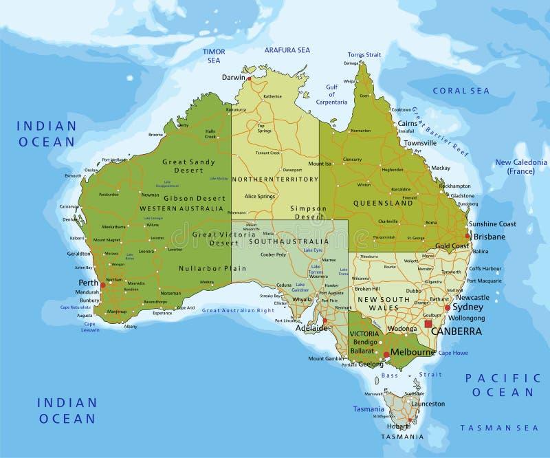 Högt detaljerad redigerbar politisk översikt med avskilda lager australasian vektor illustrationer