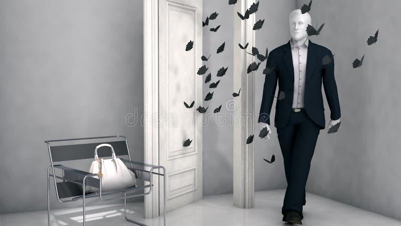 Högt framfört mode för res 3d shoppar fönstret ställer ut stock illustrationer