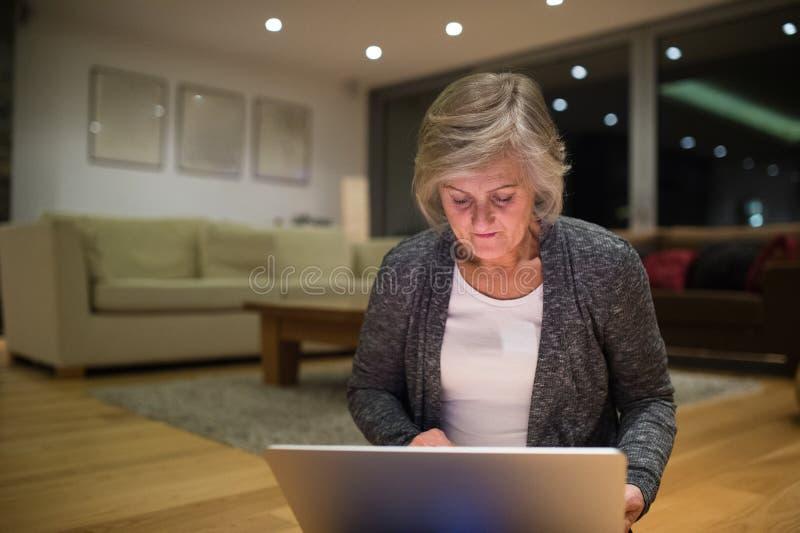 Högt kvinnasammanträde på golvet som arbetar på bärbara datorn royaltyfri foto