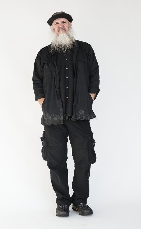 Högt manligt skägg isolerad stående royaltyfri bild
