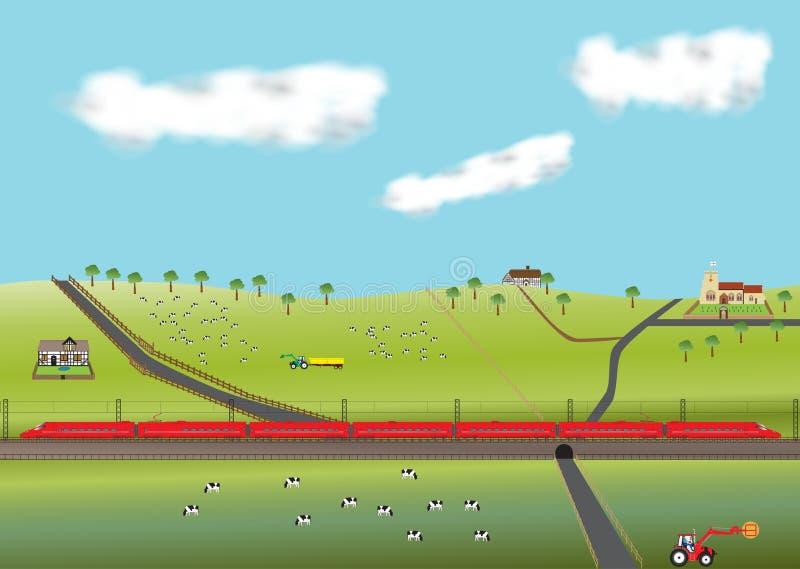 högt rött hastighetsdrev stock illustrationer