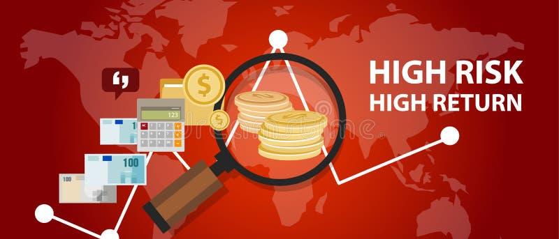 Högt - riskera för investeringprofilen för hög retur analys av pengar stock illustrationer