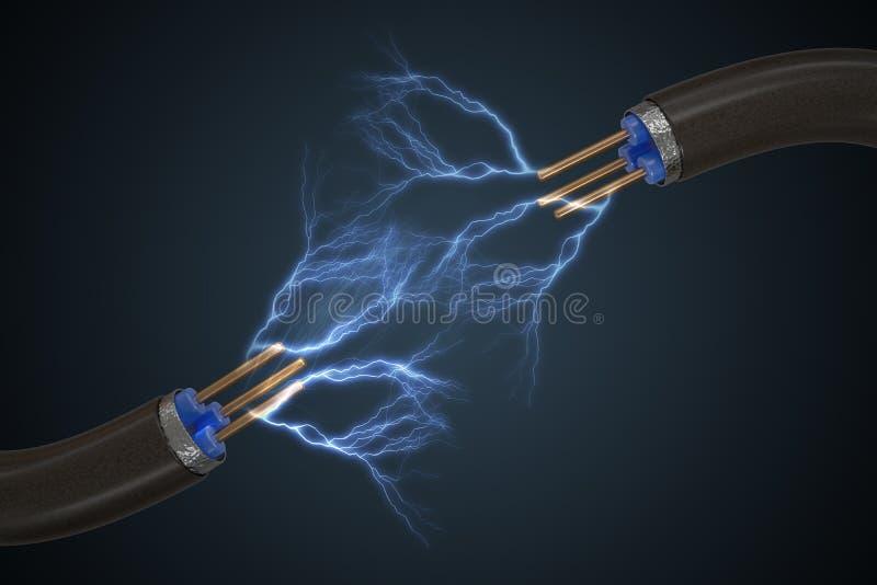 Högt spänningsbegrepp Elektricitet mousserar från kabel framförd illustration 3d royaltyfri illustrationer
