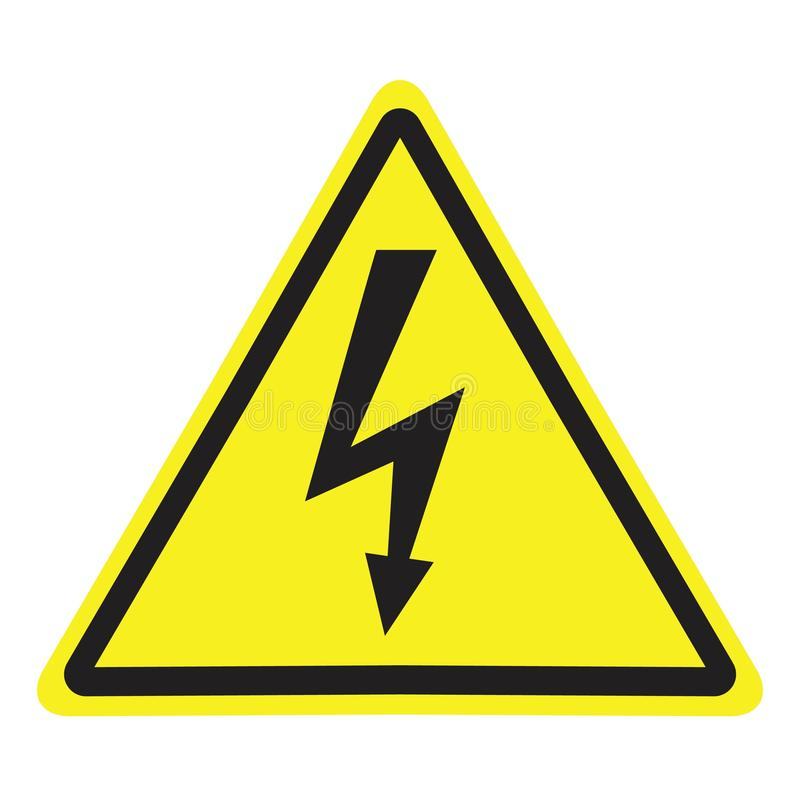 Högt spänningstecken Farasymbol varningssymbol royaltyfri illustrationer