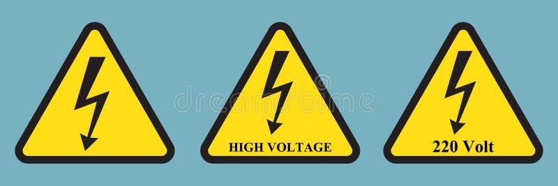 Högt spänningstecken Svart pil som isoleras i gul triangel varningssymbol vektor illustrationer