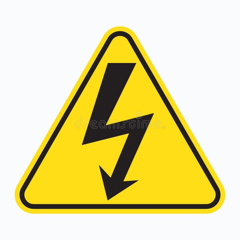 Högt spänningstecken Svart pil som isoleras i gul triangel varningssymbol royaltyfri illustrationer