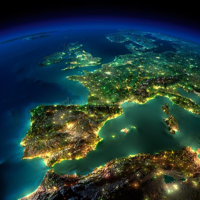 Nattjord. En lappa av Europa - Spanien, Portugal, Frankrike royaltyfri illustrationer