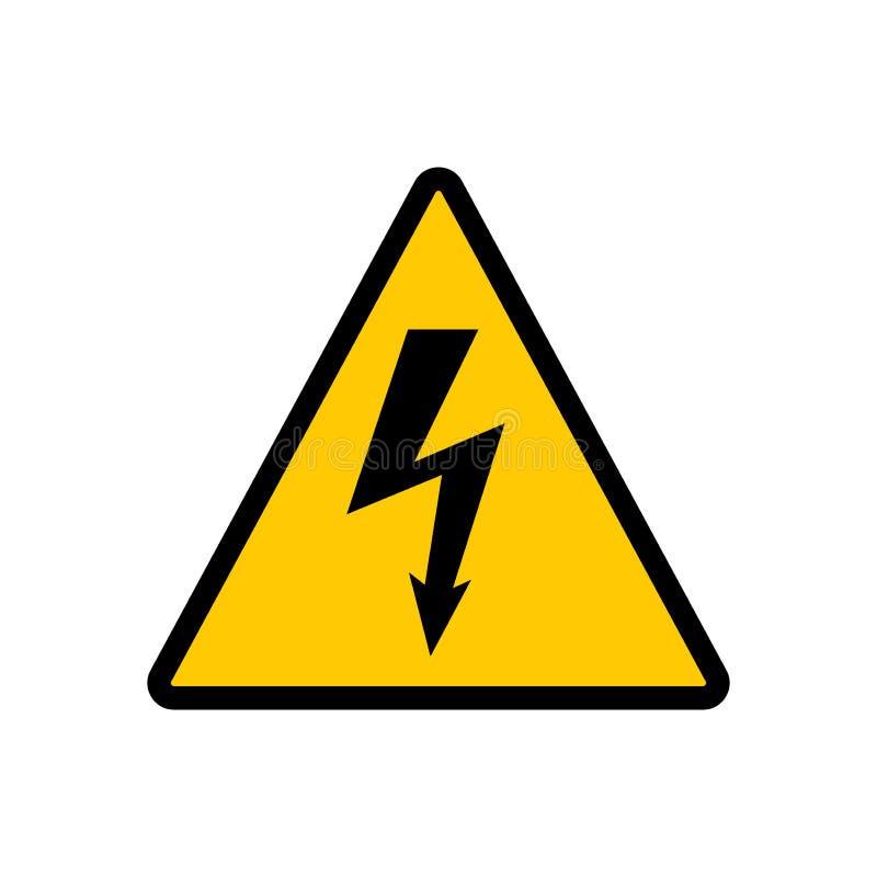 Högt tecken för spänningsgulingtriangel Högt tecken för spänningsfaravektor royaltyfri illustrationer