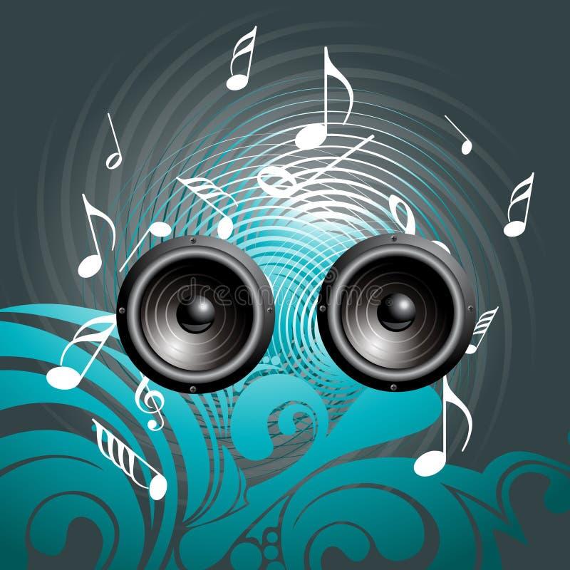 högtalare för bakgrundsmusik stock illustrationer