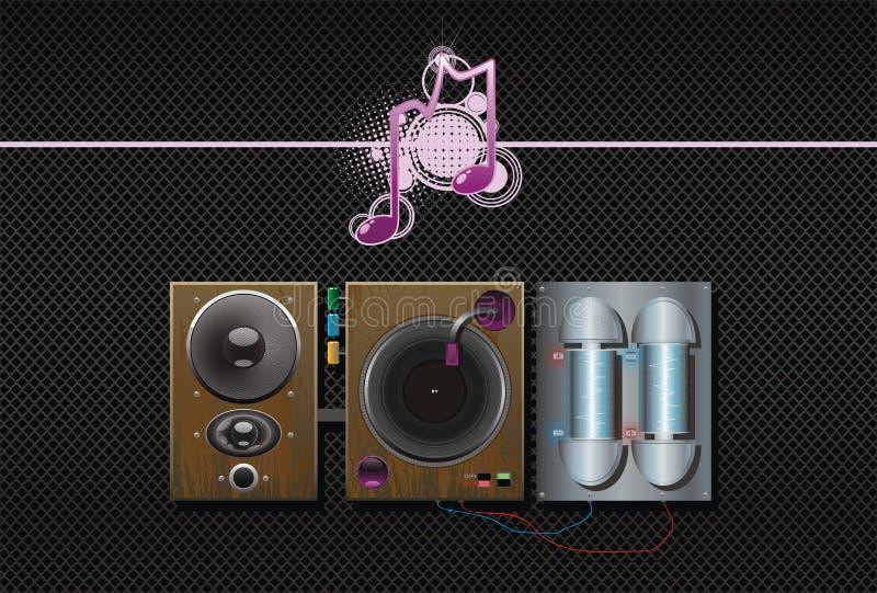 högtalare för musik för konstbakgrundskonstruktion stock illustrationer