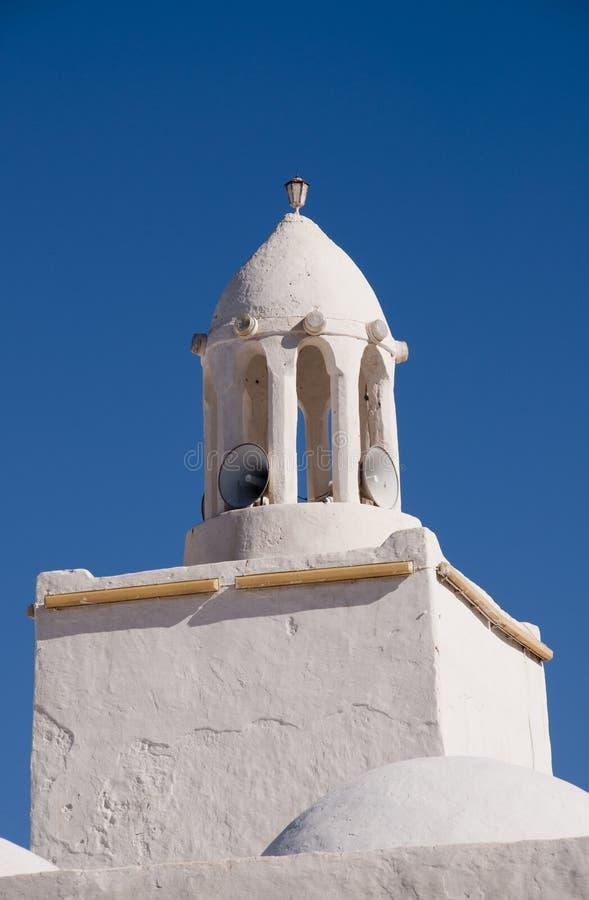 Högtalare i minarettorn arkivbilder