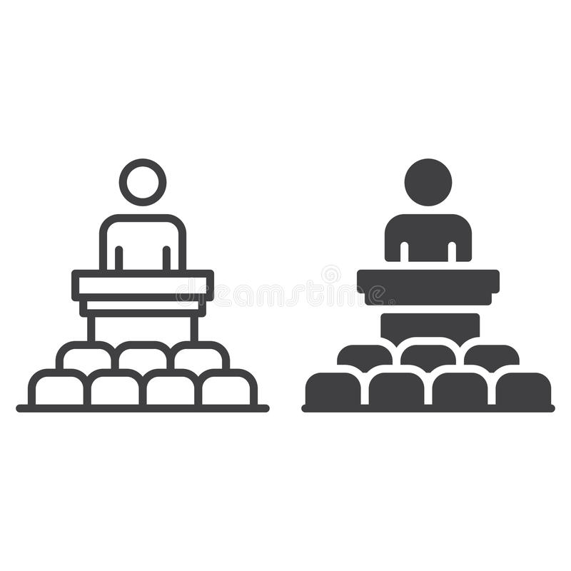 Högtalare, konferenslinje och fast symbol stock illustrationer