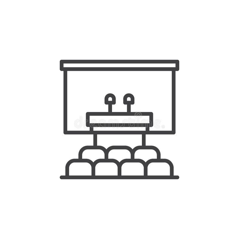 Högtalarepodiumlinje symbol, översiktsvektortecken, linjär pictogram som isoleras på vit royaltyfri illustrationer