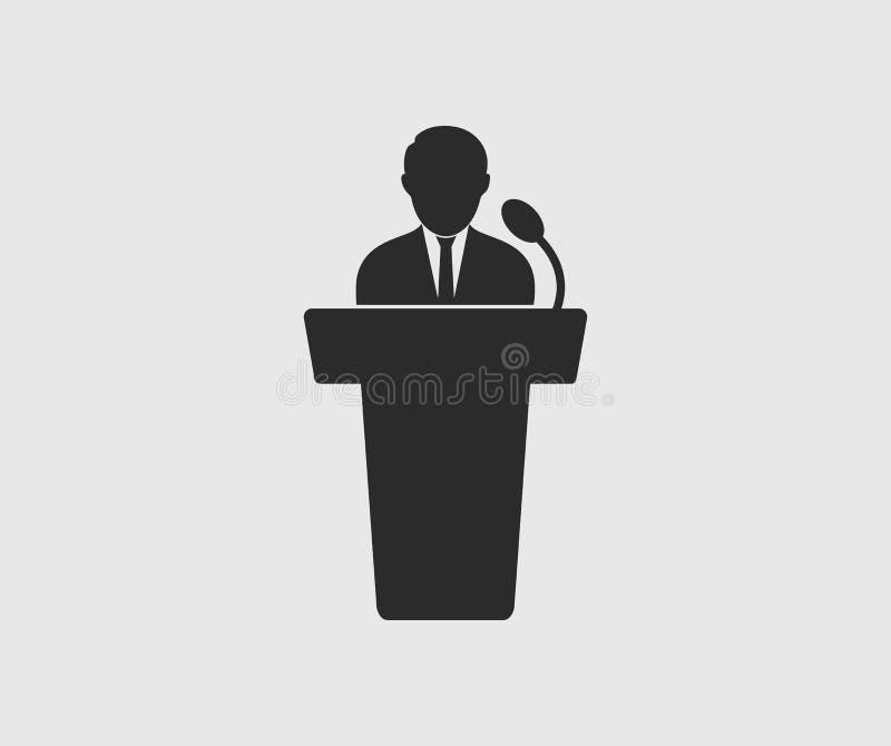 Högtalaresymbol på grå bakgrund Plan stilvektor EPS stock illustrationer