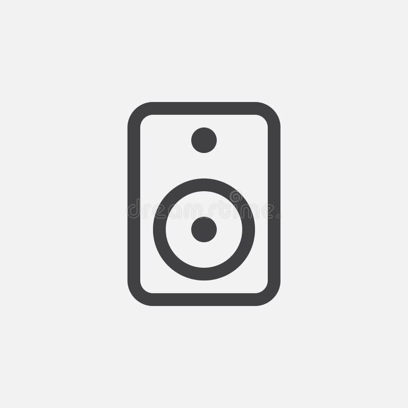 Högtalaresymbol, vektorlogo, linjär pictogram som isoleras på vit, perfekt illustration för PIXEL stock illustrationer