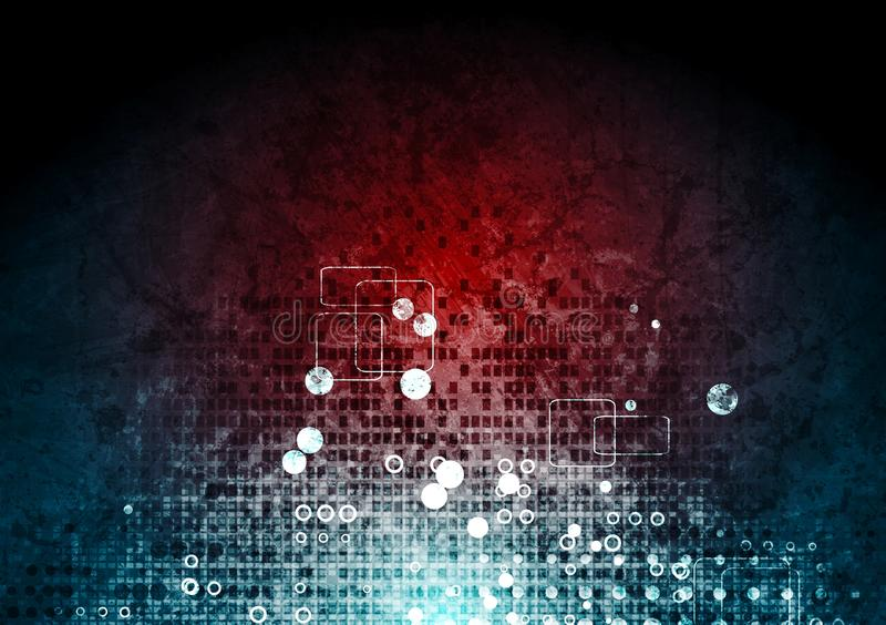 Högteknologisk röd blå bakgrund för Grunge vektor illustrationer