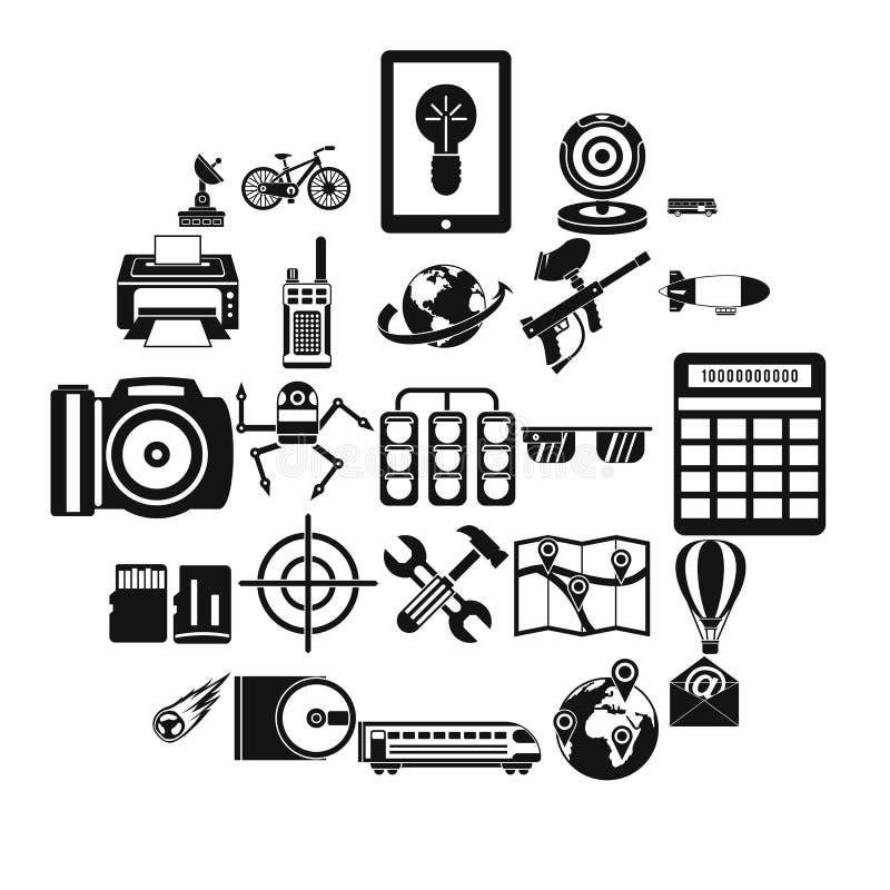Högteknologisk symbolsuppsättning, enkel stil royaltyfri illustrationer