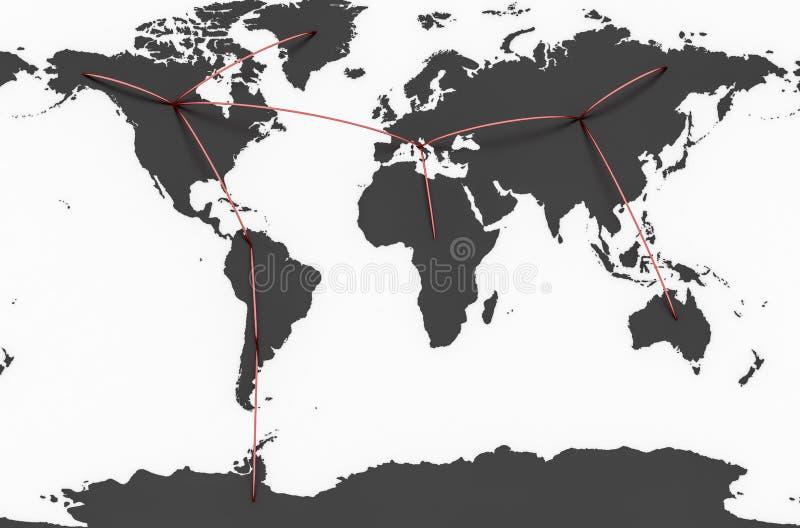 Högteknologisk världskarta royaltyfri foto