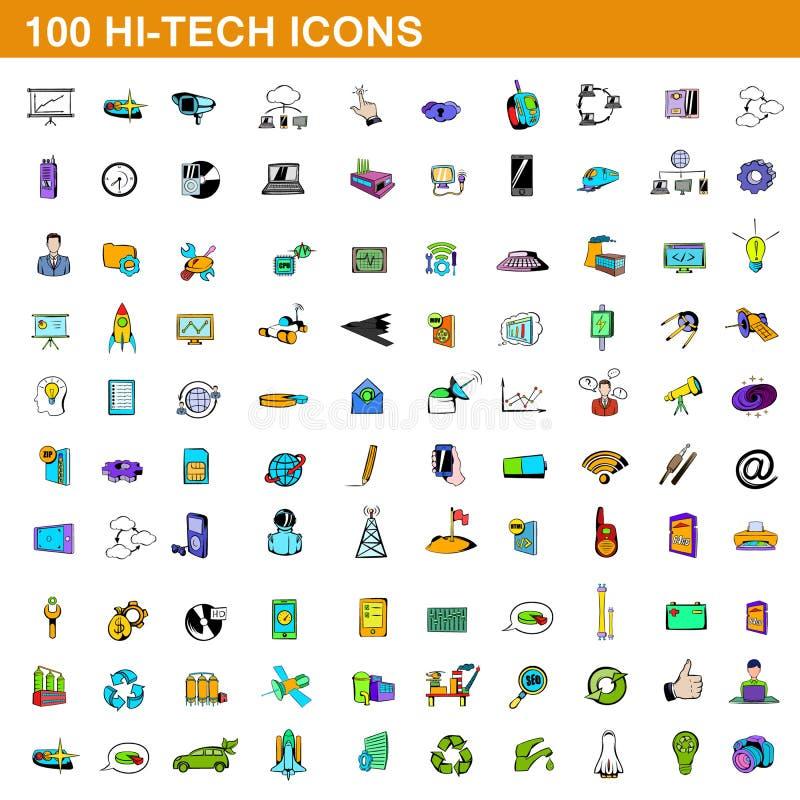 100 högteknologiska symboler uppsättning, tecknad filmstil stock illustrationer
