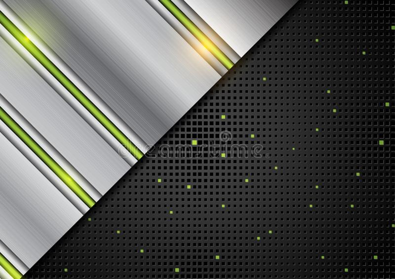 Högteknologiskt abstrakt begrepp försilvrar metallisk bakgrund stock illustrationer