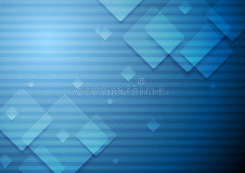 Högteknologiskt geometriskt mörker - blå bakgrund royaltyfri illustrationer
